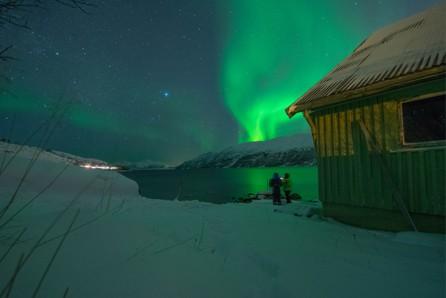 Aurora Borealis noorderlicht boven tromso noorwegen