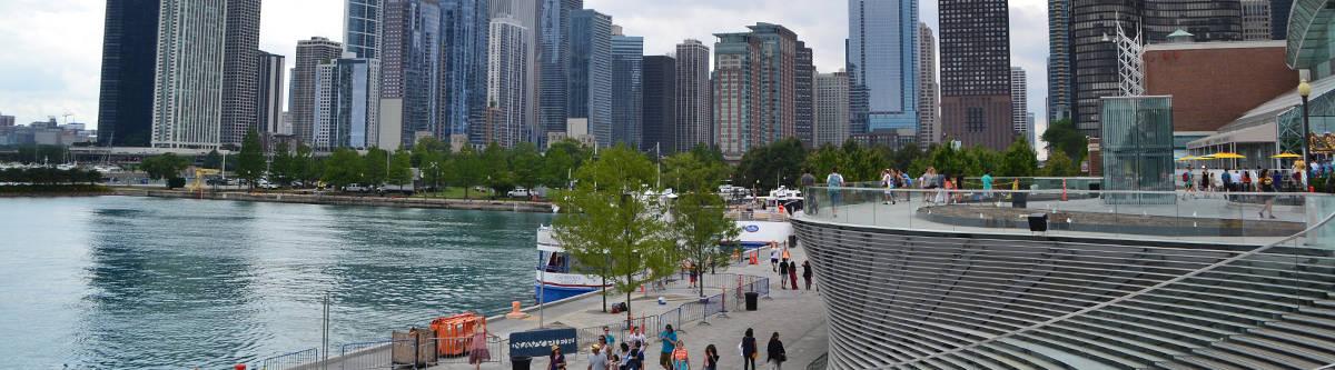 Chicago uitzicht van op de Navy Pier.