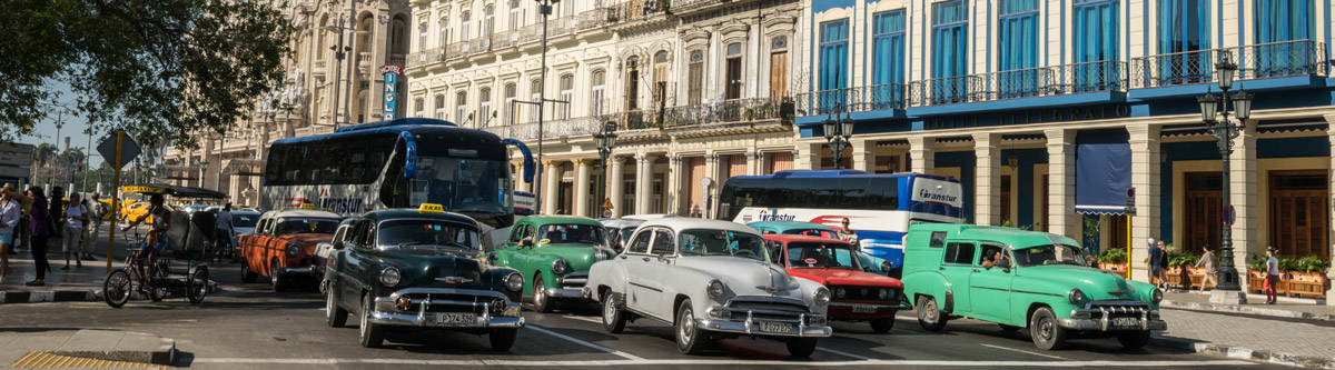 Hundreds of oldtimers roam the streets of Havana. The capital of Cuba.