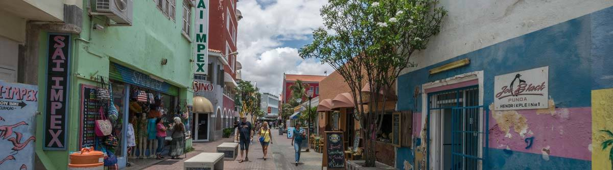 The typical streets of Willemstad, the capital of Curacao.