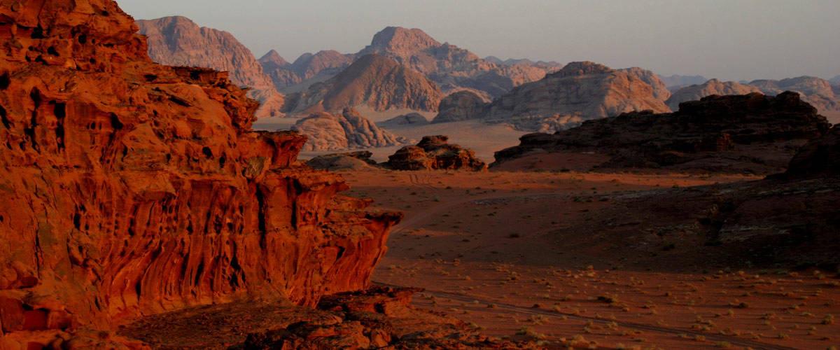 The beautiful red desert of Wadi Rum.