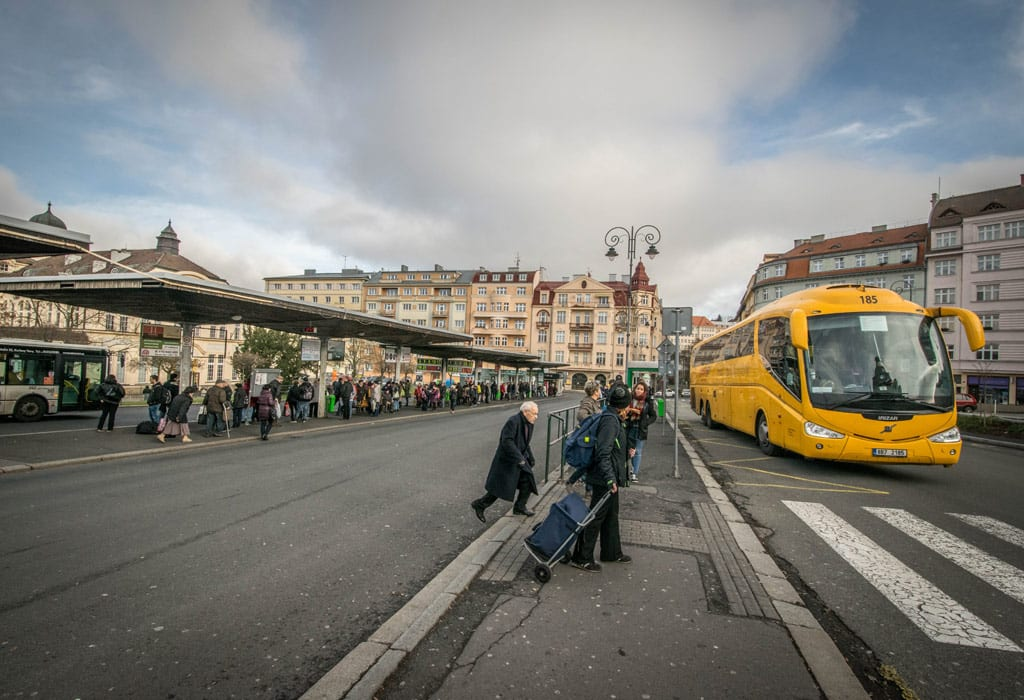 The bus from Prague to Karlovy Vary takes a bit longer than two hours and costs 120 Czech crowns one way.