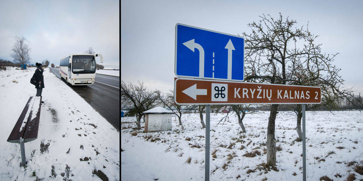 """The way to """"Kryziu Kalnas"""" isn't marked very well, but right before you are there you'll see some sign posts. Left you see the bus stop from where you have to get back to Siauliai."""