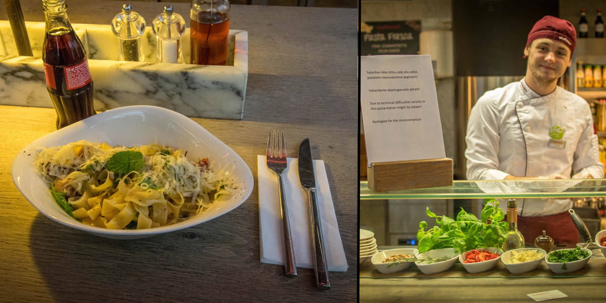 The Vapiano chain has delicious Italian food. Here you see my pasta with chicken in a mint/ginger sauce.