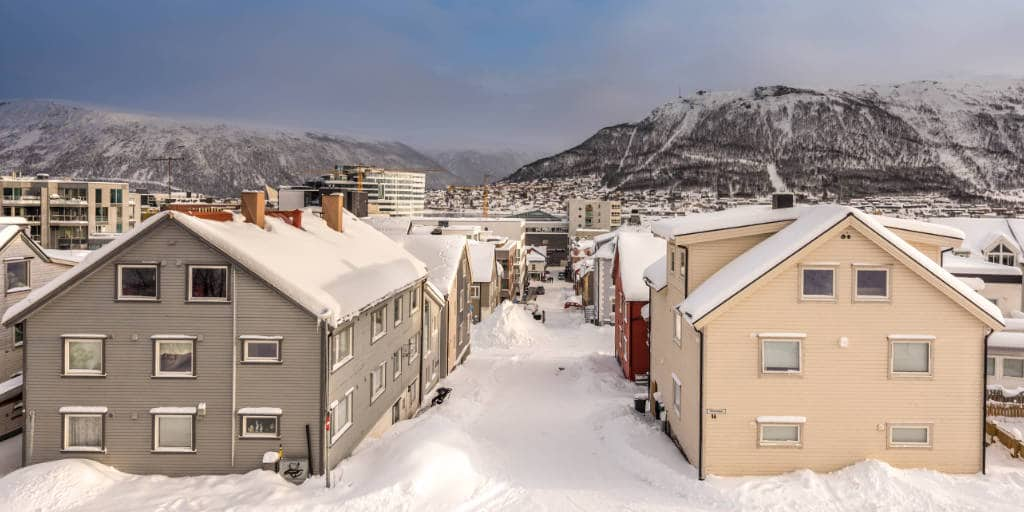 The city center of Tromsø. Thick snow and probably the coziest atmosphere ever!
