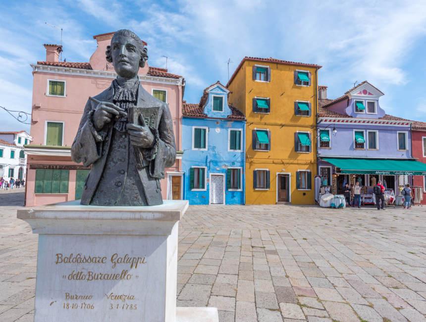 statue of baldassare galuppi things to do in Burano