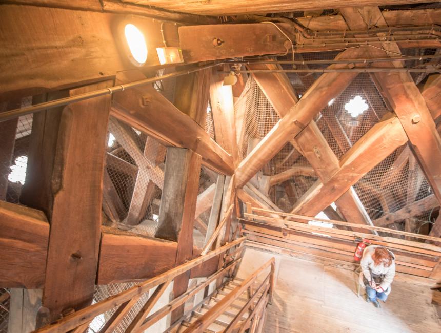 notre dame bell tower wooden framework