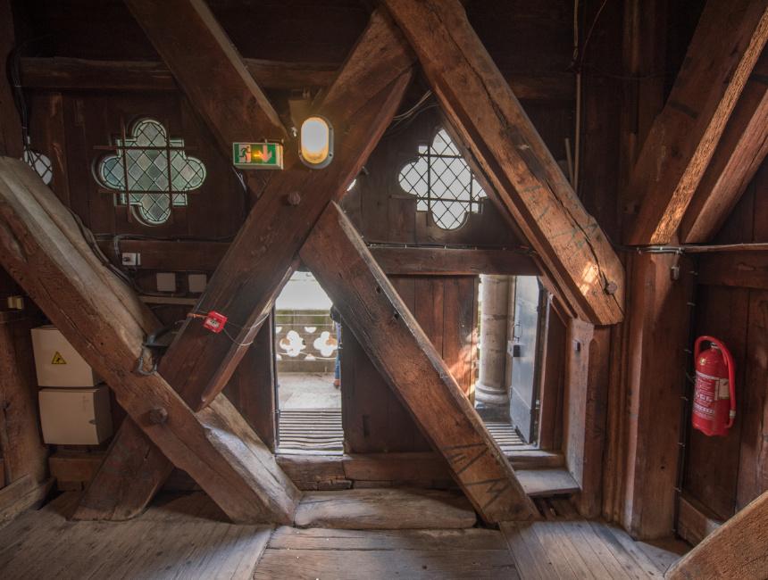 notre dame bell tower wooden frame